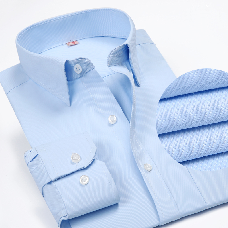 Solid Color Turn-Down Collar Formal Shirts 3