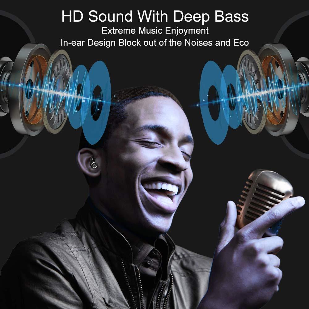 GUSGU TWS auricular Bluetooth inalámbrico auriculares V5.0 en la oreja del deporte auriculares con banco de potencia y micrófono manos libres - 6