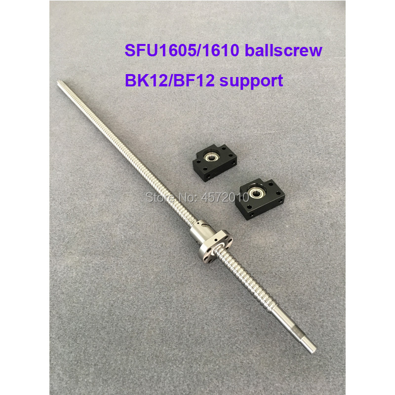 <font><b>SFU1605</b></font> 1610 BallScrew 200 300 400 <font><b>500</b></font> 600 mm + BK/BF12 End support Rolled Ball screw with single Ballnut for CNC part image