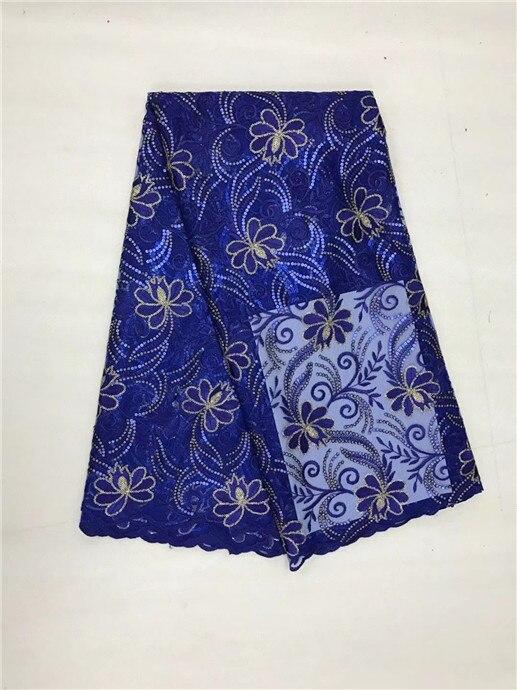 Bleu Royal français africain dentelle Tissu Guipure coton pailleté cordon Tulle nigérian Tissu maille inde dentelle pour robe de mariée (1L-419