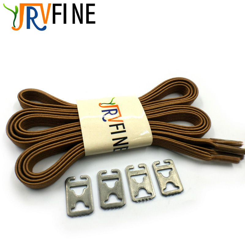 YJRVFINE 1 Pair Brown Elastic Polyester Rubber Shoelaces Fashion Shoelace Elastic Flat Shoe Laces for All Sneakers Shoe Rope цена