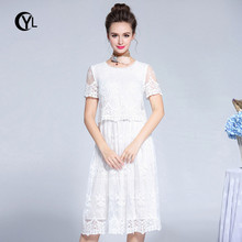 OUYALIN L- XXXL 4XL 5XL Plus size Summer Dress 2018 Women Short sleeve Mesh  embroidery fd9abd7c8a28