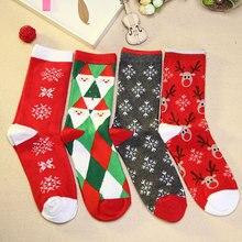 Kawaii Cute Socks Women 1 Pair Warm Cotton Cartoon Printed Sock Harajuku Christmas Santa Claus Snowflake Funny Socks Gift W2-3