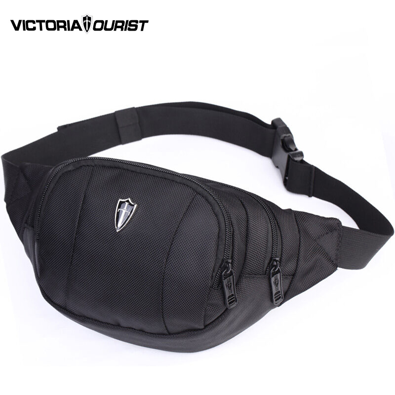 VICTORIATOURIST waist bag men/men fanny pack/belt bag/fashion waist pack /waterproof nylon bum bag men/hip pack/V5001 black/blue fashion waterproof waist bag bicycle bike bag with led light strap blue