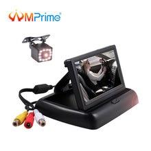 AMPrime складываемый автомобильный монитор 4,3 «HD ЖК-дисплей 2 в 1 парковочная помощь в-панельный монитор с ночного видения резервная камера заднего вида