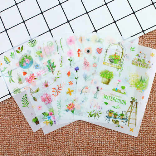 1 conjunto mini bonito kawaii dos desenhos animados planta bloco de notas pegajosas caderno artigos de papelaria adesivos crianças adesivos material de escritório
