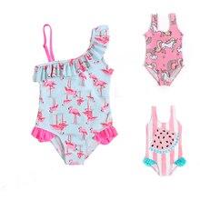 2c58d27f69 2019 nowy strój kąpielowy dziewczęcy kostium jednoczęściowy stroje kąpielowe  dla dzieci body dość Flamingo arbuz jednorożec