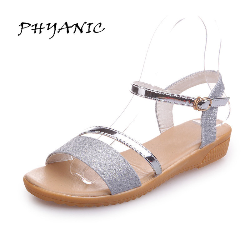 PHYANIC 2017 Gladiator Sandals Gold Silver Shoes Woman Summer Platform Wedges Glitters High Heels Casual Women Shoes PHY7303 2017 gladiator sandals summer platform shoes woman gold silver flats buckle women shoes fashion creepers xwz6816