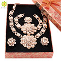African Beads Jewelry Sets For Women Gold Plated Crystal Wedding Bridal Accessories Flower Necklace  Set+Gift Boxes