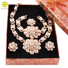 African Beads Jewelry Sets For Women Gold Color Crystal Wedding Bridal Accessories Flower Necklace  Set+Gift Boxes