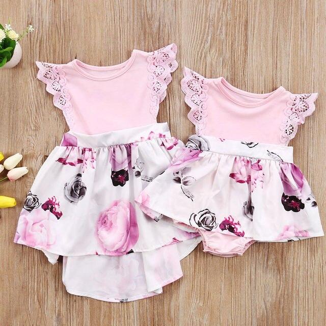 04c650155d7 Little Sister Kids Girls Lace Floral Dress Sundress Newborn Baby Romper Toddler  Infant Children Girl Flower Print Dresses