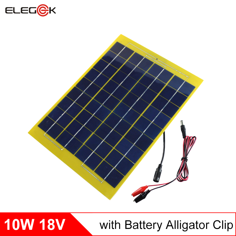 ELEGEEK 2pcs 18V 10W Solar Panel Battery Charger for DIY Solar System 12V Battery with DC Output Crocodile Clip 330*230mm