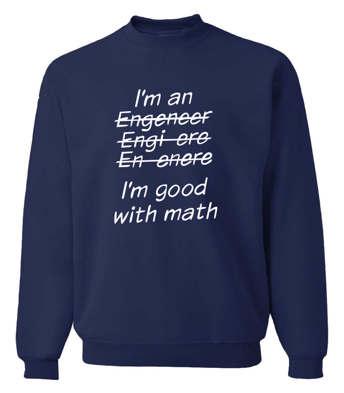 Толстовки для взрослых Я инженер, я хорошо с математическими буквами напечатаны забавная одежда 2019 Осень Зима теплые флисовые толстовки я