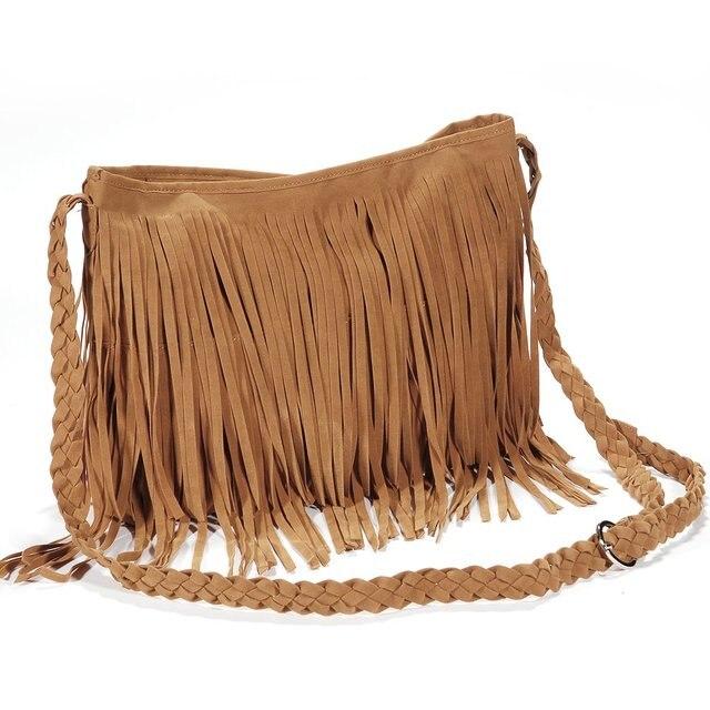 2017 Hot New Fashion Women Suede Weave Tassel Shoulder Bag Messenger Fringe Handbags High