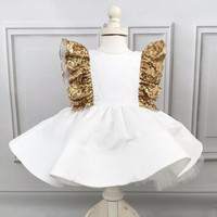 Stunning white ball gown short flower girl dress for wedding and party gold sequins bow baby birthday toddler graduation outfit
