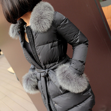 Winter luxury natural fox fur duck down jacket women Nice new Europe fashion long parkas female 81% down jackets and coats S2281