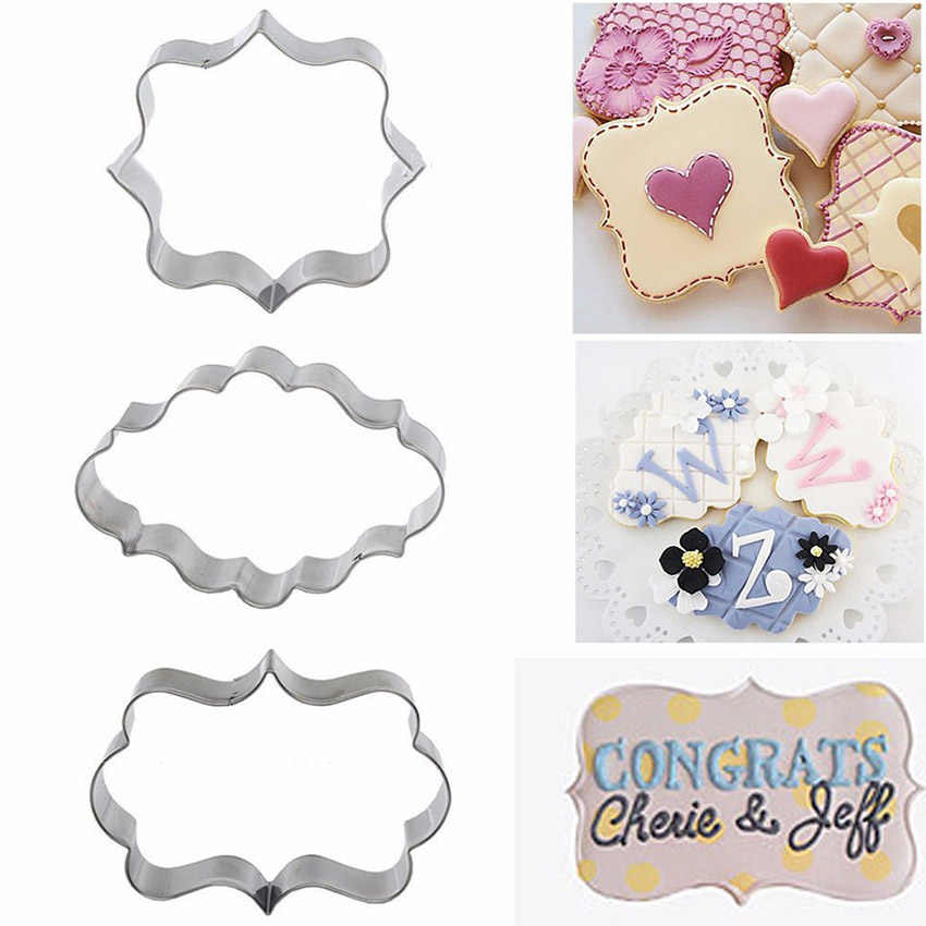 Sugar biscuit mold 3Pcs Plaque Cutter Cookies Frame DIY Cake Oval Square Rectangle Fancy Stainless Cookie Mold