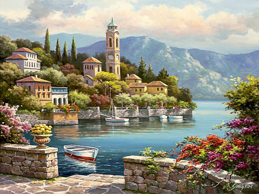 Frameless wall decor diy painting by numbers hand painted canvas painting for living room 40*50cm Romantic harbor