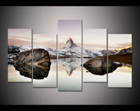 New 5 panel large HD printed oil painting matterhorn in alps canvas print art home decor wall art picture for living room F0550