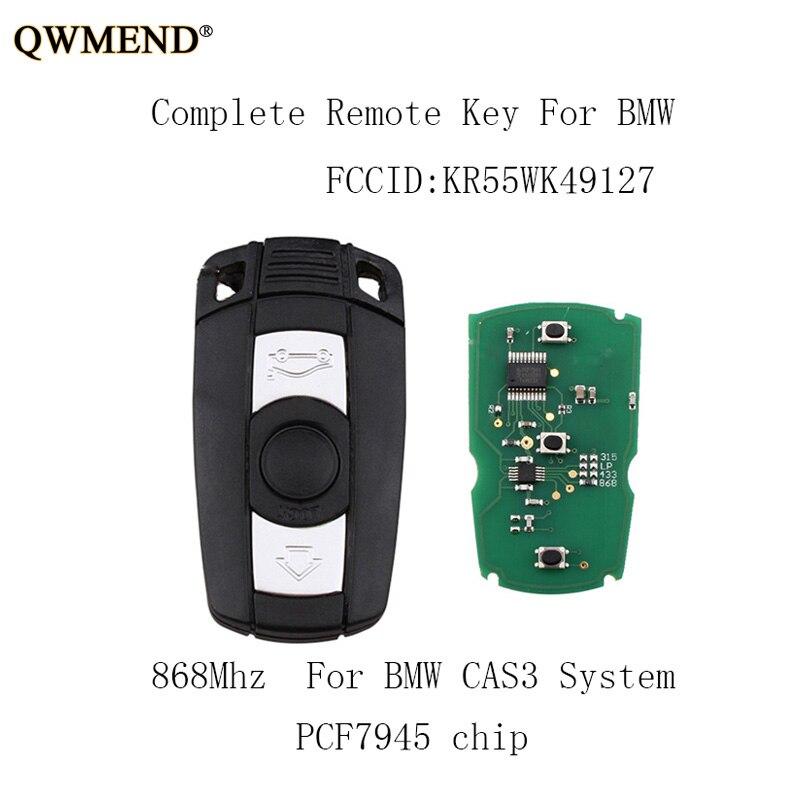 QWMEND 3Buttons 868Mhz Car Remote key DIY For BMW 1/3/5/7 Series CAS3 X5 X6 Z4 KR55WK49127 PCF7952 Chip Car keyQWMEND 3Buttons 868Mhz Car Remote key DIY For BMW 1/3/5/7 Series CAS3 X5 X6 Z4 KR55WK49127 PCF7952 Chip Car key