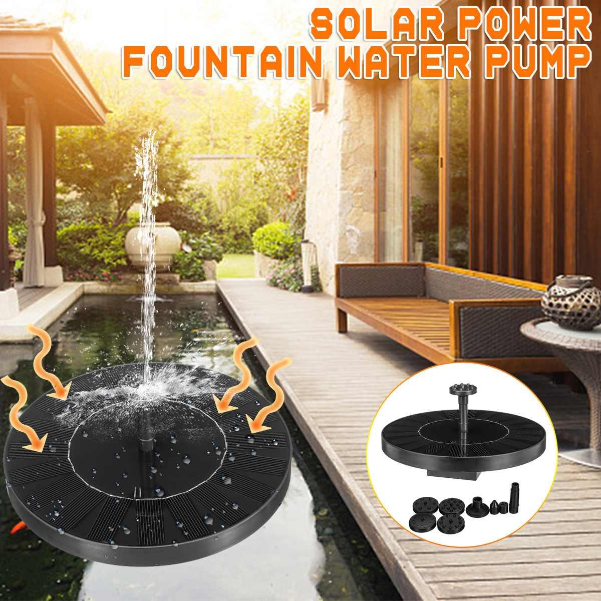 AUGIENB Solar Water Floating Pump Fountain 1000mAh  Pool Solar Garden Fountain Artificial Outdoor Fountain Solar Pump Kit Set
