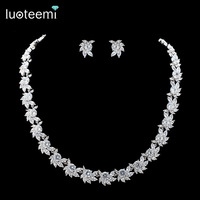 LUOTEEMI Brand New Elegant Flower Clear CZ Crystal Necklace High Quality Wedding Bridal Jewelry Gift Female Collocation