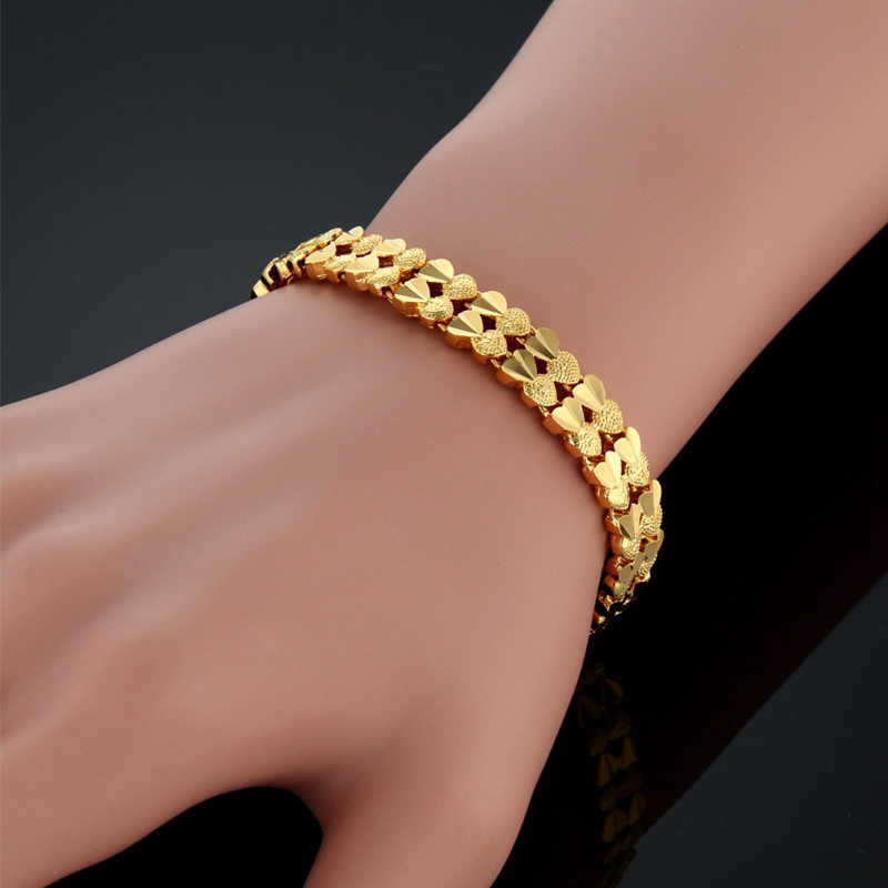 Braclet Woman Jewelry Wholesale Braslet 2017 Gold Color Double Heart Chain Bracelets & Bangles for Women Gifts