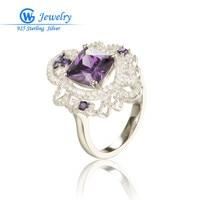 Russian Amethyst Ring Fashion Women 925 Solid Sterling Silver Ring GW Fine Jewelry Brand Zircon Ring