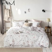 2019 Nordic Pink Floral White Duvet Cover Set Flat Fitted Sheet Cotton Bedlinens Hypoallergenic Twin Queen King