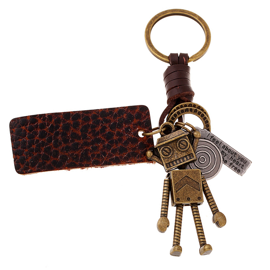 Novelty Genuine Leather Copper Alloy Robot Key Chain Ring Holder Vintage Car Keyring Charm Bag Pendant Keyfobs Gift FY057