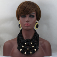 Fabulous Black Crystal Women Fashion Jewelry Sets African Wedding Nigerian Bead Jewelry Accessories New Free Shipping