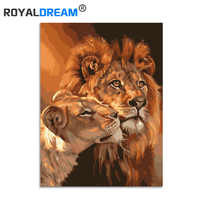 ROYALDREAM Dependent Lion Animalst Painting Diy Digital Painting By Numbers Modern Wall Art Picture For Home Wall Artwork