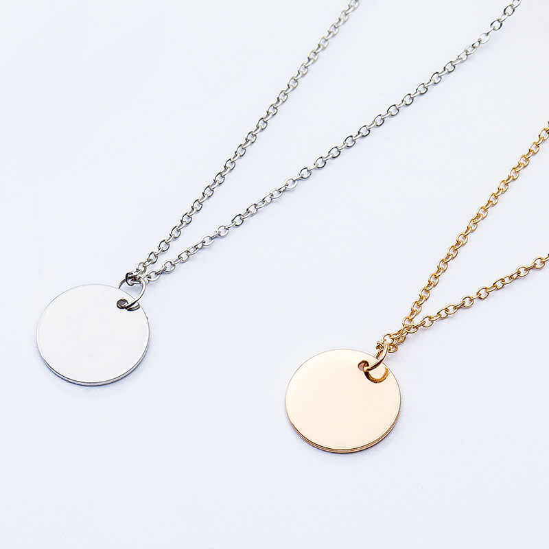 Simple Small Round Metallic Slice Golden Silver Necklace for Women Around 50 cm