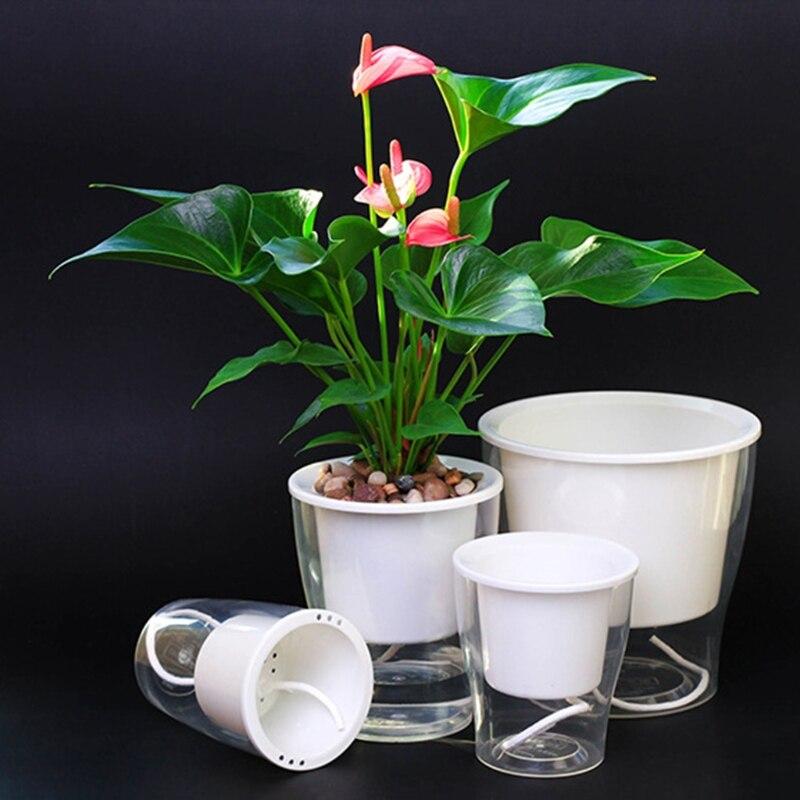 Auto Irrigate Flower Pot Vase Automatic Watering Planter Lazy Planting Round 13x15cm/11x12cm/9x13cm