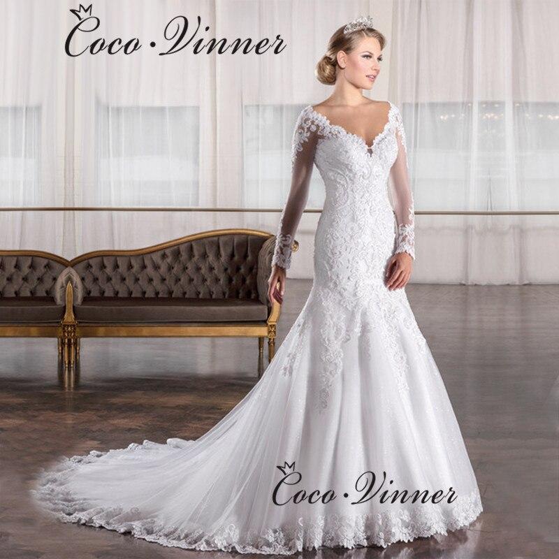 Vestido De Noiva 2020 Vintage Lace Mermaid Wedding Dress Long Sleeve Appliques Beaded China Gowns Vestido De Casamento W0034