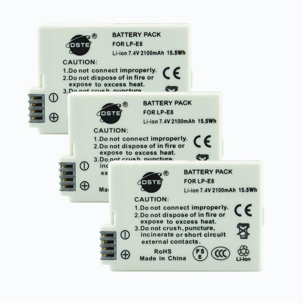 DSTE 3 piezas LP-E8 lp-e8 Cámara batería para CANON 550D 600D 650D 700D X4 X5 X6i X7i rebelde T2i T3i t4i T5i