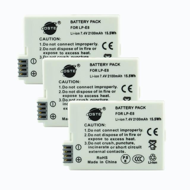 DSTE 3 unids LP-E8 lp-e8 Batería Para Canon 550D 600D 650D X4 X5 X6i X7i 700D T2i T3i T4i T5i DSLR cámara