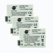 DSTE 3PCS LP-E8 lp-e8 Camera Battery for CANON 550D 600D 650D 700D X4 X5 X6i X7i Rebel T2i T3i T4i T5i