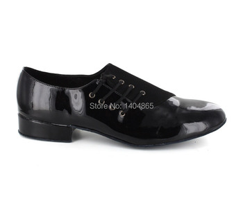 KEEWOODANCE Patent Black Leather and Nubuck ballroom dance shoes mens shoes Low heel.FREE SHIPPING!