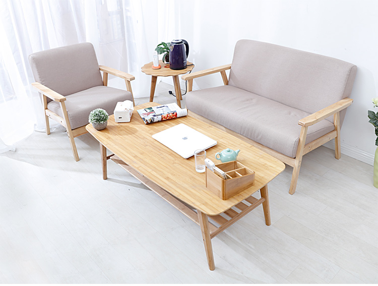 Modern coffee table bamboo furniture living room rectangle for Sofa side table designs