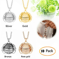 10x Expanding Photo Locket Necklace Pendant Angel Wings Gift Jewelry Decoration 5.13