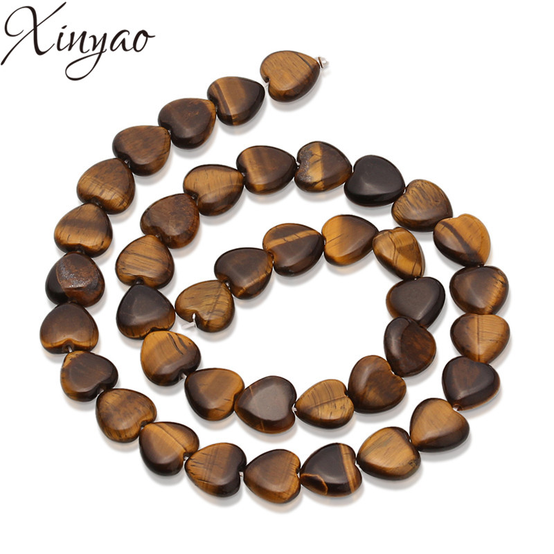 XINYAO 38pcs/lot Heart Loose Natural Stone Beads Tiger Eye Turquoises Agates Bead For Diy Bracelet Necklace Jewelry Making F5308