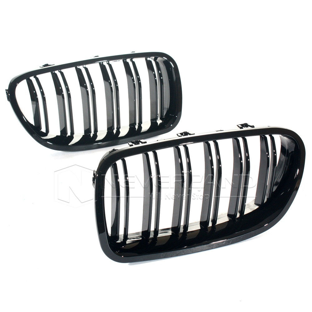 ФОТО 1Pair Gloss Black Front Kidney Grille Grills For BMW 2011~2014 F10 F11 5-series Sedan Touring Freeshipping D10