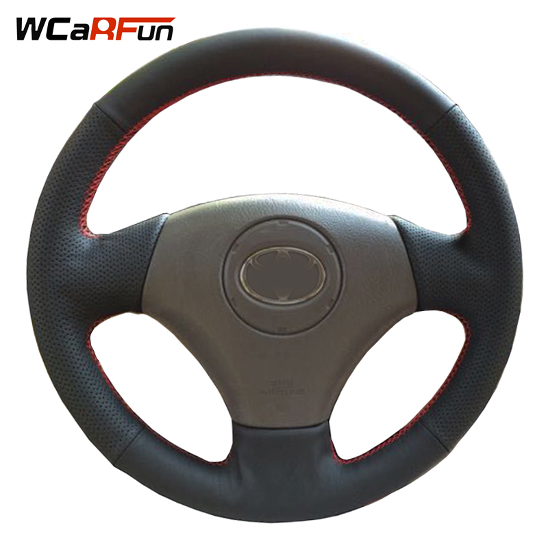 WCaRFun Black Artificial Leather Steering Wheel Cover for Toyota Vios Corolla 2000-2004 Mark 2 for Lexus GS430 GS300 2004