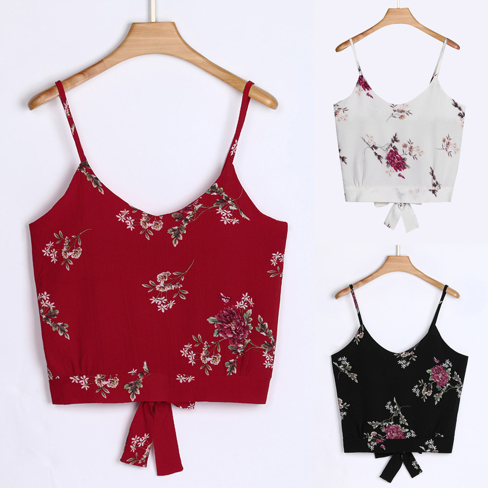 Women's Blouse Self Tie Back V Neck Print Floral Cami Camisole <font><b>sexy</b></font> top <font><b>t</b></font> shirt <font><b>femme</b></font> crop top <font><b>debardeur</b></font> <font><b>femme</b></font> image