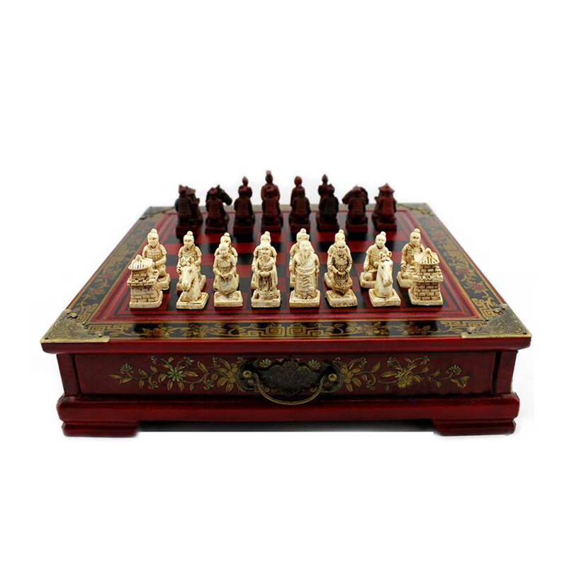 Classic Chiness Chess Set Terracotta Warriors Wooden Chess Board Flower Bird Table Unique Chess Game Wooden Chessman Game Set-in Chess Sets from Sports & Entertainment    1
