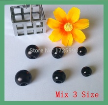 Free shipping 240pcs/lot mix Size 3 side hole Black color pearl buttons for craft clothes sewing accessory scrapbooking Products