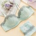 Senhoras Ultrafinos Transparente Lace Bra & Brief Set Marca Sexy Terno Lingerie feminina 1/2 Xícara Preto Verde Empurrar Para Cima Cueca conjuntos