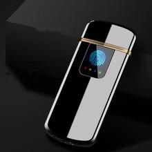 2018 neue LED Screen Batterie Display USB Leichter Aufladbare Elektronische Feuerzeug Winderproof Flammenlose Doppel Seite Zigarre Plasma