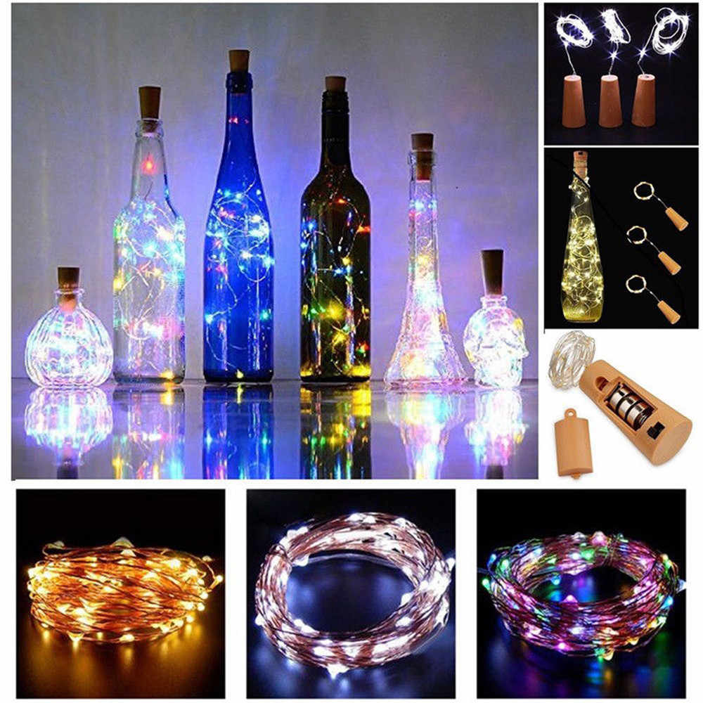 Bottle Lights Cork Shape For 2M 20 LED Wine Bottle String Party Romantic